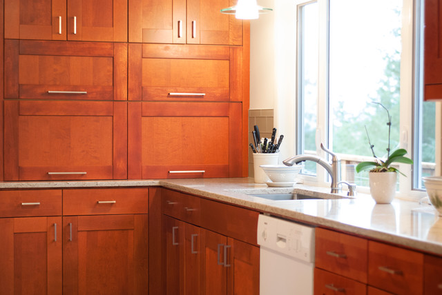 Adel Medium brown IKEA cabinet with white quartz - Transitional - Kitchen - portland - by John ...