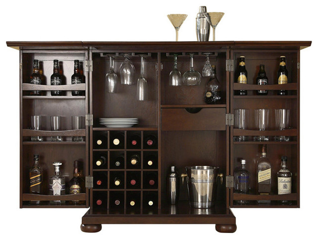 Crosley Alexandria Expandable Bar Cabinet - Traditional - Wine And Bar Cabinets - by Furniture ...