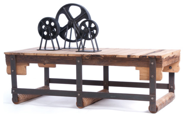 Iron Coffee Table With Natural With Rust Accents Coffee Tables