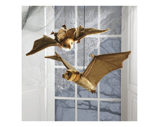 """Grandin Road - Plush Hanging Bat - 27""""W - Plush bat modeled and handcrafted to resemble the original creature in its natural habitat. 16"""" bat has larger ears, longer hair, and is ready for a landing. 27"""" is modeled after the flying fox, one of the largest in all of the bat families. Hangs from an elasticized cord with a ring. Each sold separately. Thrill and teach at the same time with our hanging plush bats. More adorable than scary, each bat is a portrait of a real bat that's custom designed, handcrafted from huggable man-made fabrics and part of Hansa's """"Toys that Teach"""" collection. They're so realistic and cute; you can hang them up as Halloween decorations and give them as gifts to your favorite animal lover.  .  .  .  . ."""