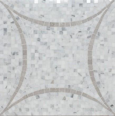 Interlocking Circles White Marble Grey Accent Grey