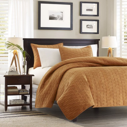 Ivory Coast Coverlet Set in Cinnamon modern-quilts