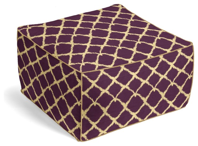 Purple Tribal Diamond Custom Pouf eclectic-decorative-pillows