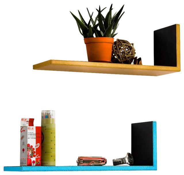 ... Leather Shelf / Floating Shelf (Set of 2) contemporary-wall-shelves