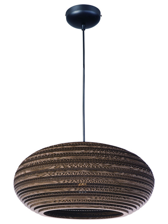 Maxim Lighting - Java 9105 Pendant - Java 9105 Pendant features the raw beauty of recycled and repurposed cardboard in alternating opaque and translucent layers in a Black finish.  One 60 watt 120 volt A19 type Medium base incandescent bulb is required, but not included. Comes with 10 feet of cord. UL listed. 17 inch width x 9 inch height x 129 inch maximum length.