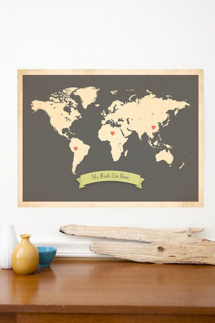 World Roots Map Customized Print, Brown by Global Child Collection contemporary-artwork