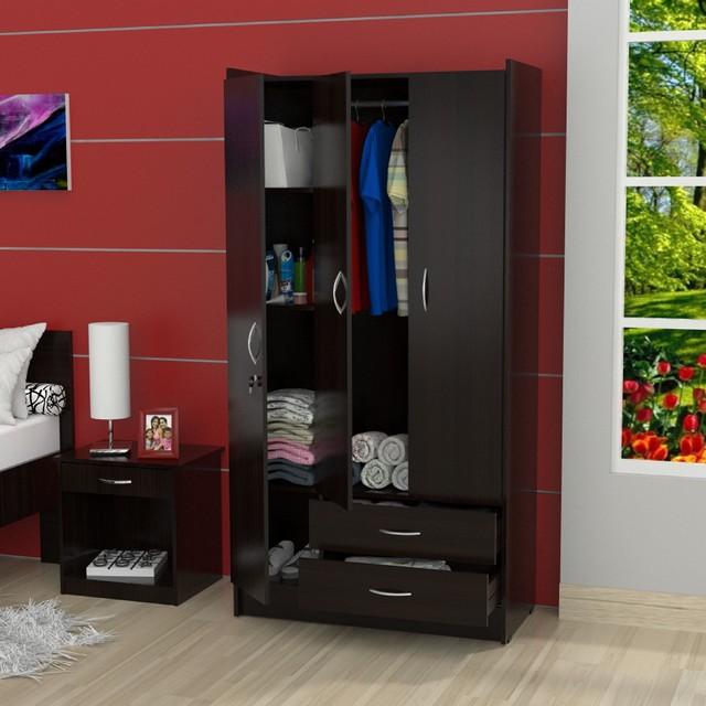 inval 3 door espresso armoire contemporary armoires