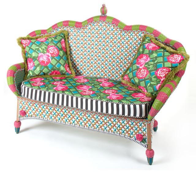 Greenhouse Outdoor Loveseat | MacKenzie-Childs eclectic-outdoor-sofas