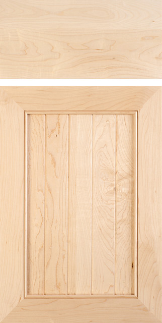 Mitered Cabinet Door With V Groove Panels In Select Hard Maple Mediterranean Kitchen