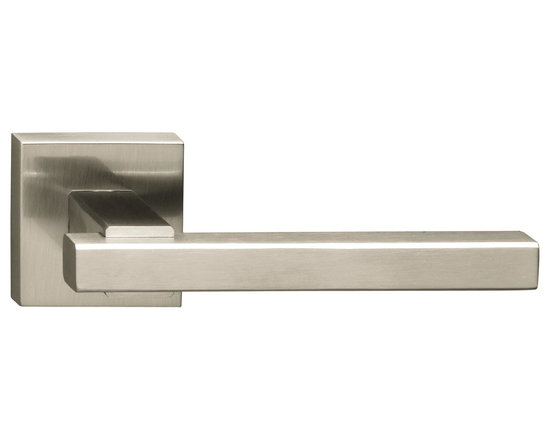 Door Lever Set Melbourne, Satin Steel Effect with Lacquer - This modern and stylish lever set will enhance your interior door and makes it a true conversational piece. It is from solid cast iron and available in different finishes. The set includes the handles on both sides, both rosettes and the mortise lock for passage or privacy. This lever set is made for custom doors that are not pre-hung or prepped for standard handles.