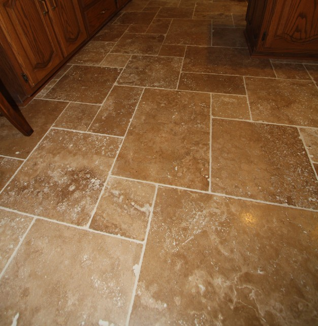Travertine Tile Floor Mediterranean Wall And