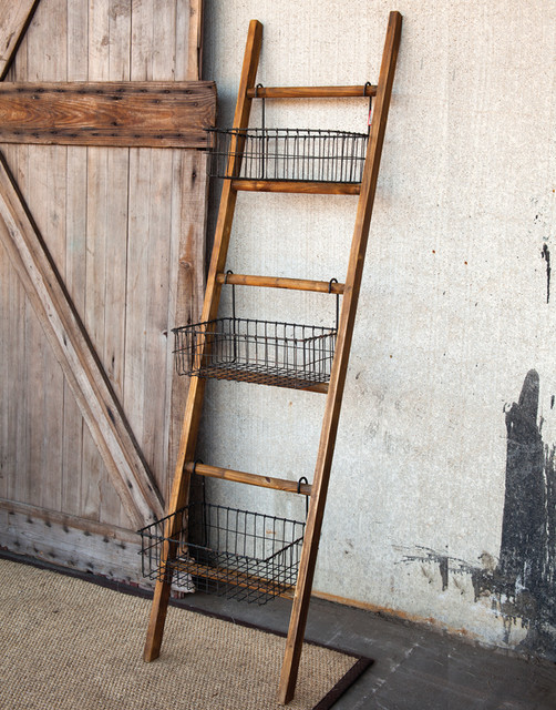 Ladder With Wire Display Basket   Eclectic   Baskets   atlanta   by Iron Accents
