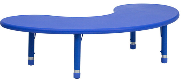 Height Adjustable Half-moon Blue Plastic Activity Table contemporary-kids-tables-and-chairs