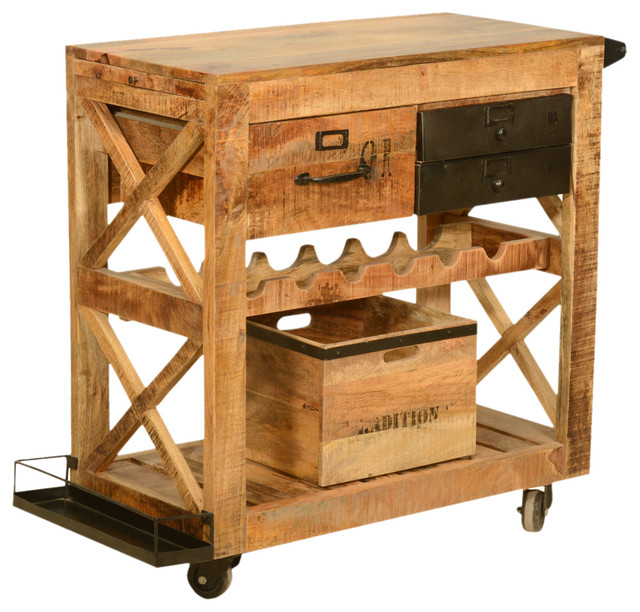 Industrial Bar Cart Bar Cart Kitchen Cart Serving Cart: Rustic Rolling Solid Wood And Iron Wine Rack Cabinet