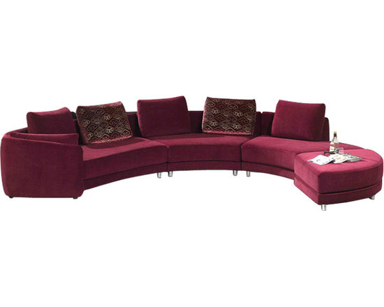 Scene Furniture - Microfiber Curved Sectional Sofa - This soft microfiber sectional sofa immediately beautifies any space and the curved design adds a very unique look.