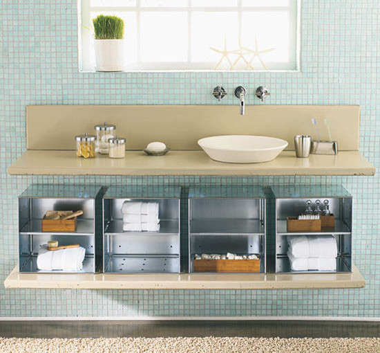 Modern under the sink bathroom storage for Bathroom under sink organizer