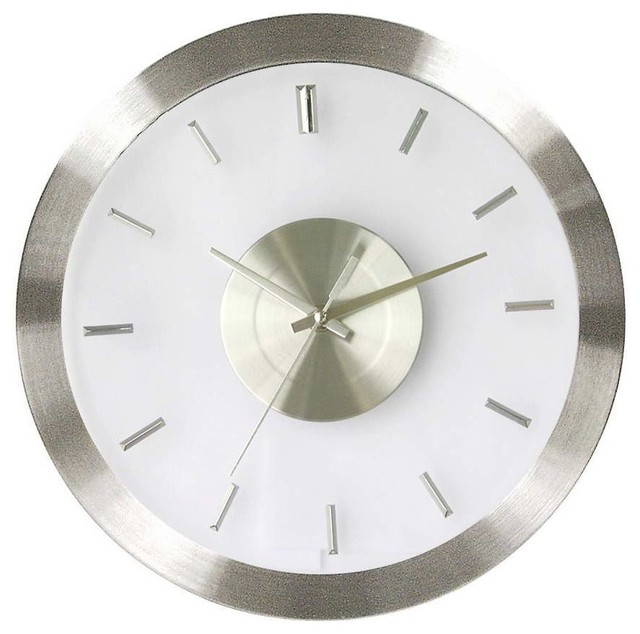 Stainless Steel Wall Clock W Clear Face Modern