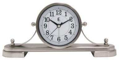 Geneva Brushed Silver Metal Tambour Mantel Clock modern-clocks