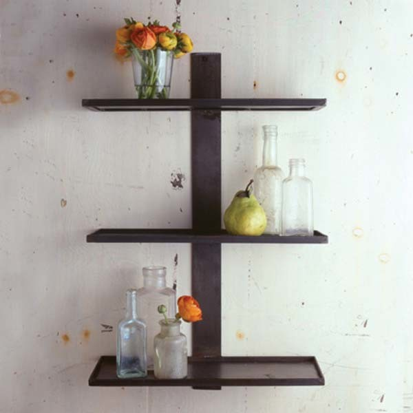Three tier strap shelf eclectic display and wall