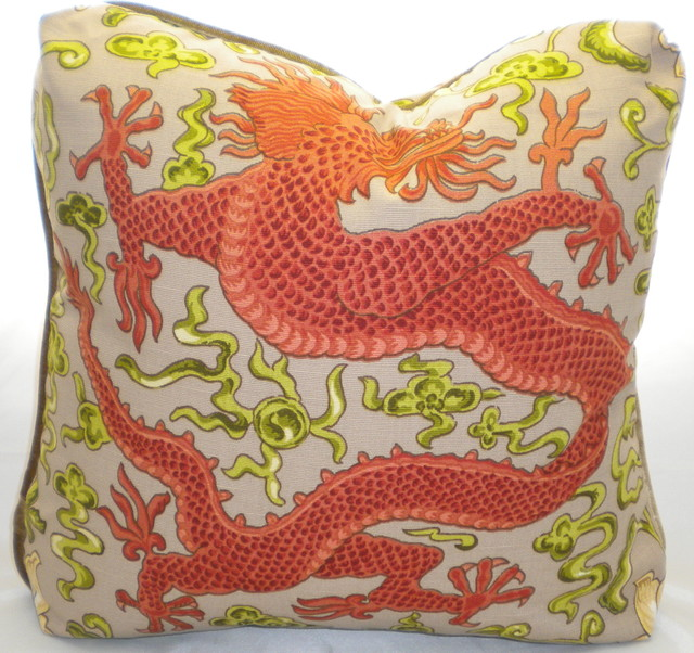 Scalamandre 2 Chien Dragon Pillow asian pillows