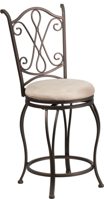 24 Quot Brown Metal Counter Height Stool With Beige Microfiber