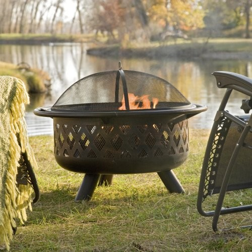 Other Brands Bronze Crossweave Firebowl Fire Pit with Free Cover and Fire Pit To contemporary-fire-pits