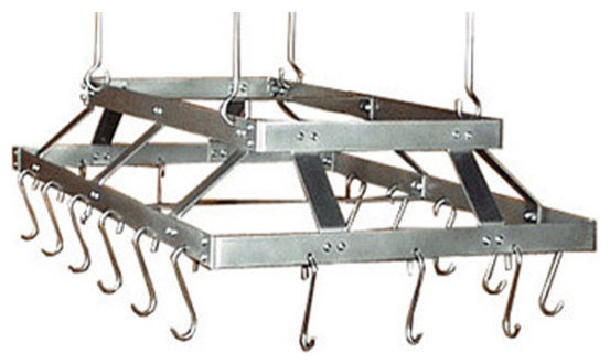 43 Inch Commercial Hanging Stainless Steel Pot Rack, Stainless Steel, With Grid - Transitional ...