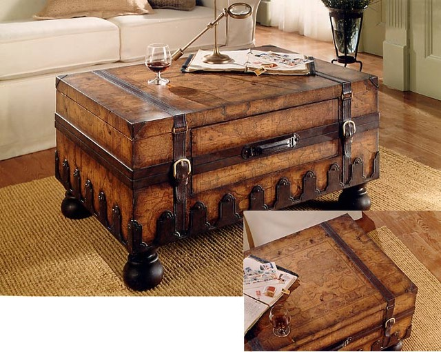 Trunk Coffee Table W Leather Appointments W Contemporary Coffee Tables By Ivgstores
