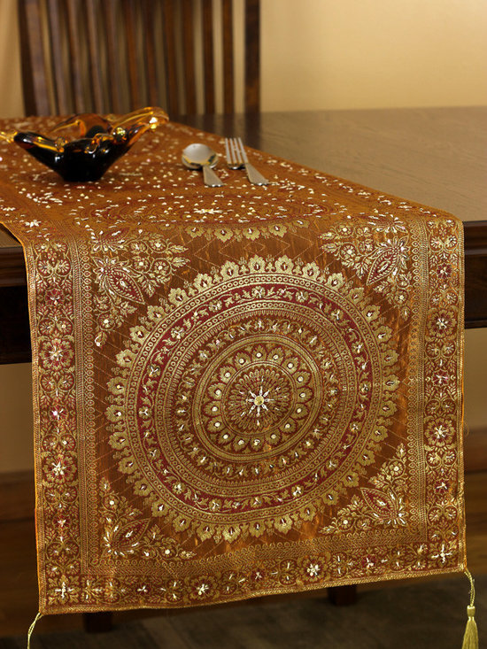 Elegant Table Runners - Oriental table runner design. Made in India. Beautiful Golden Amber color. Elegant complement to any room.