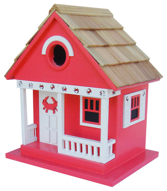 Crab Cottage Birdhouse Red Beach Style Birdhouses