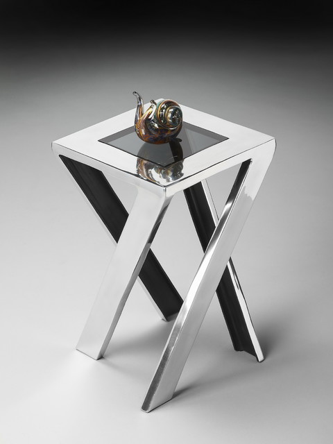 nickel and glass unusual side table contemporary side