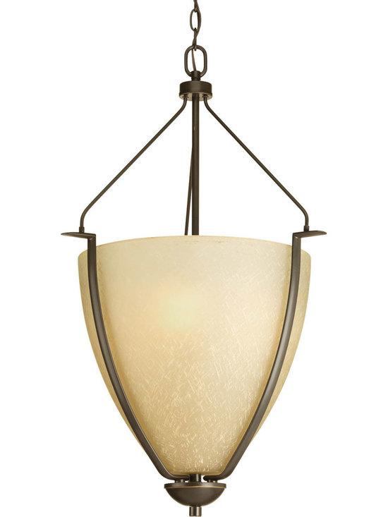 Progress Lighting Bravo Three-Light Hall & Foyer - Three-light Large Foyer Bowl with umber linen glass