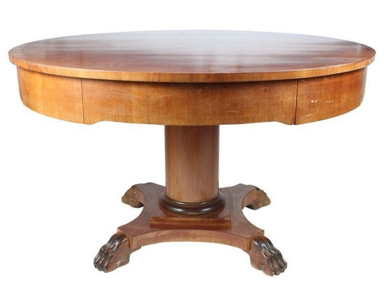 Pre-owned 1890s Mahogany Table with Wood Inlay - 1890s mahogany table with custom wood inlay, four pullout drawers, pedestal column and hand carved lion paw quad base.  Minor scratches on table top.