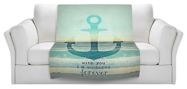 Throw Blanket Fleece - With You I'm Anchored Forever contemporary-throws