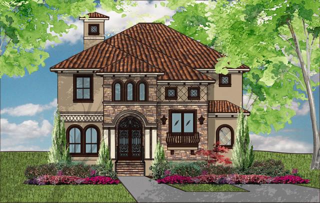 Houston area stucco homes mediterranean exterior for Home elevation houston