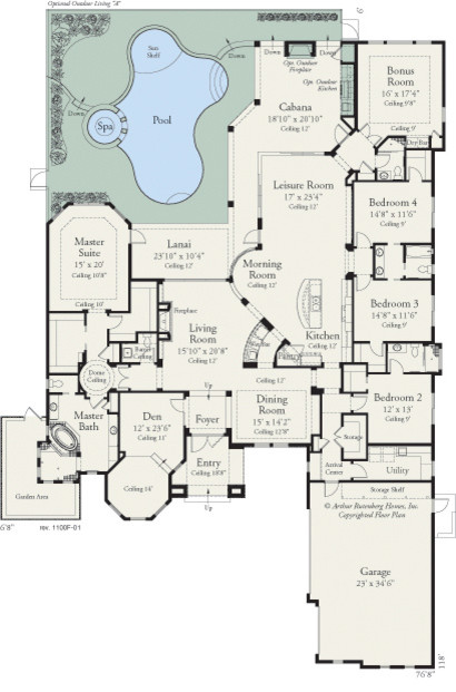 carlisle 1100 traditional floor plan tampa by luxury custom home plans florida luxury home plans