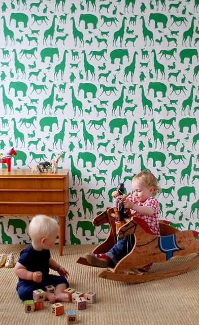 animal farm kids wallpaper modern nursery decor by. Black Bedroom Furniture Sets. Home Design Ideas