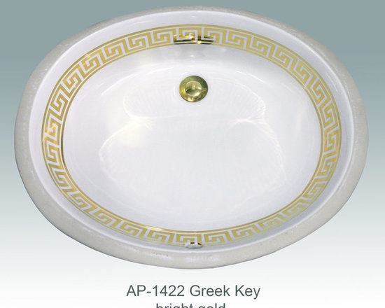 "Hand Painted Undermounts by Atlantis Porcelain - ""GREEK KEY 2"" w/two LINES"" Shown on AP-1422 white Big Ovalyn ID/19""Wx15-3/8""Dx5-1/2""Depth. Design available in burnished gold and bright gold on any of our white fixtures."