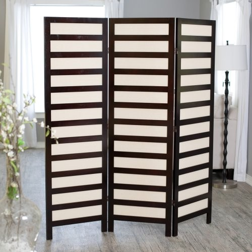 Kavari Canvas 3 Panel Room Divider Rosewood