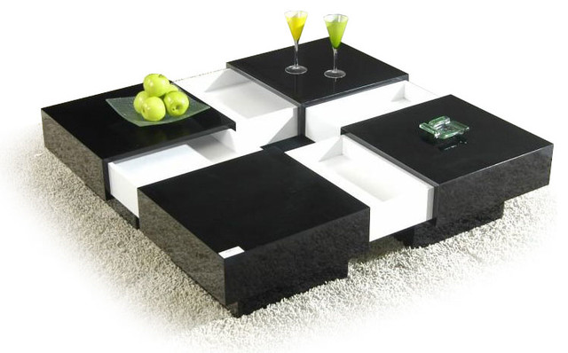 Modern Black And White Square Coffee Table With Storage Nagai Contemporary Coffee Tables