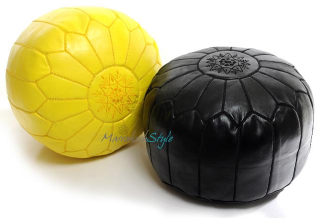 Moroccan Pouf Yellow Amp Black Leather Pouf Round Ottoman