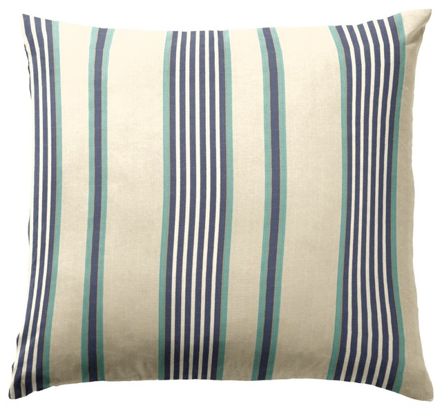 Blue Striped Decorative Pillows : Blue & Aqua Striped Throw Pillow - Decorative Pillows - new york - by Loom Decor
