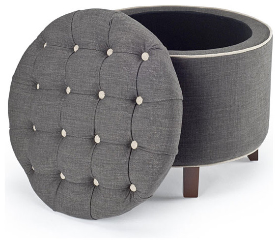 Reims Grey Storage Ottoman modern ottomans and cubes