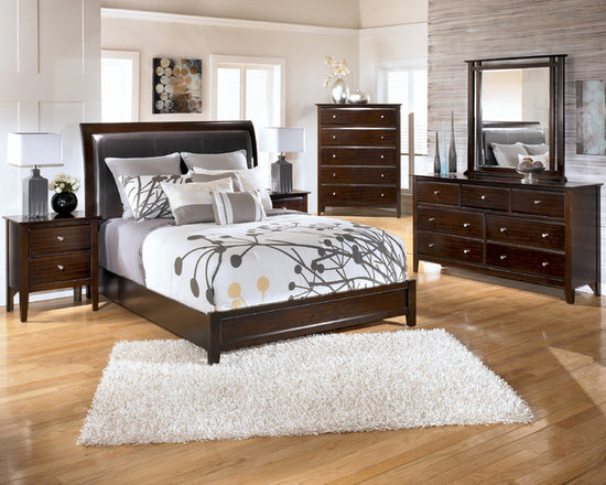 """Bedrooms Furniture - With a dark sable finish beautifully complementing the deep padded headboard adorned with decorative stitched detailing, the """"Contemporary"""" bedroom collection takes stylish contemporary design and creates a warm inviting collection that is sure to enhance the look of any bedroom decor."""