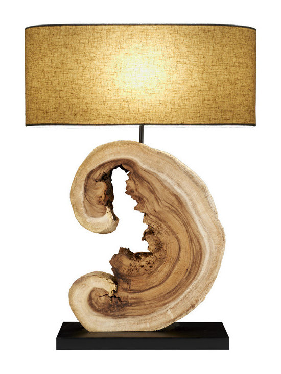 Scandinavian Design - Acacia Block Lamp - Sculptique table Lamp, this Charming and elegant  lamp is made of natural reclaimed block of acacia wood that is cut to  give the lamp its natural shape