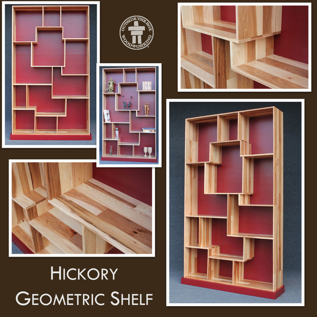 Sangria Hickory Geometric Shelf - Modern - Display And Wall Shelves - seattle - by Outside The ...