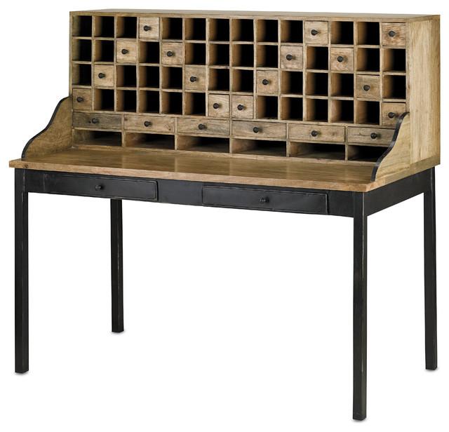 Currey & Co 3171 Dockery Black Patina Work Table rustic-desks
