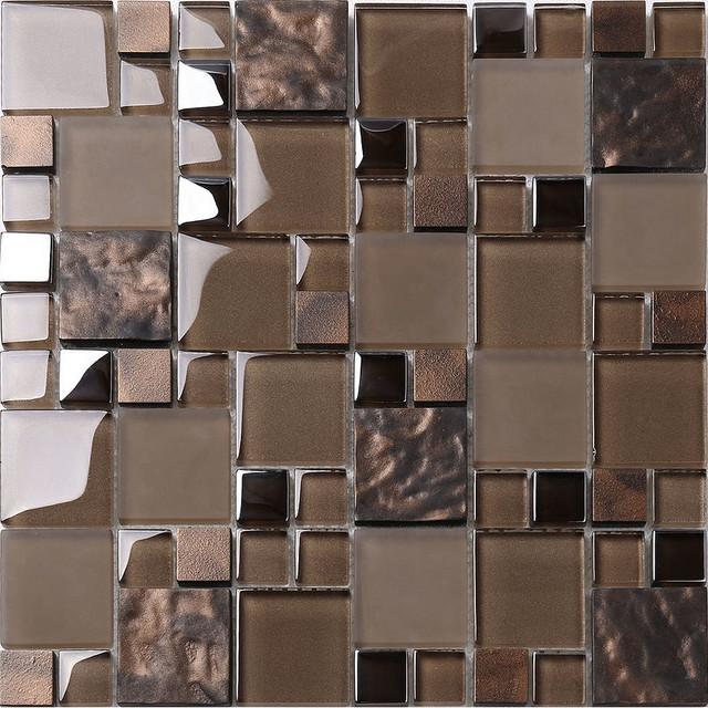 brown glass mosaic kitchen backsplash tile 12 x 12