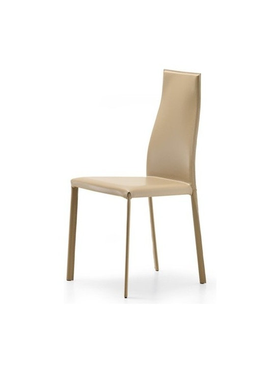 Cattelan Italia - Cattelan Italia   Kaori Chair - Made in Italy by Cattelan Italia. Constructed for comfort and style, the Kaori Chair features a tall ergonomically designed backrest that is distinctively curvy. While extremely comfy, the svelte figure of this Italian creation is also a delectable feast for the eyes. Premium leather encases the chair's concrete steel frame, adding an element of luxury to the piece.  Suits formal dining spaces both in home and business settings.  Complements glass and timber dining tables, as well as contemporary and traditional décor. Available in a range of leather colors and textures.