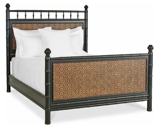 Faux Bamboo Bed from Redford House - Faux Bamboo Bed from Redford House shown in Black with Faux Leather.  A true classic to perfection.  Hand-made to last generations and hand painted and detailed by expert craftsman.  This bed is available in 26 hand done finishes.